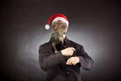 Άγιος Βασίλης με τη μάσκα αερίου Στοκ Εικόνες
