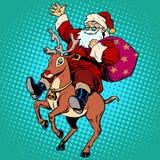 Άγιος Βασίλης με τον τάρανδο Rudolf Χριστουγέννων δώρων απεικόνιση αποθεμάτων