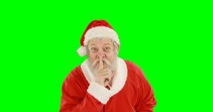 Άγιος Βασίλης με το δάχτυλο στα χείλια απόθεμα βίντεο