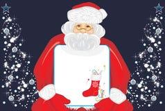 Άγιος Βασίλης με το έμβλημα Χριστουγέννων στα χέρια Στοκ φωτογραφία με δικαίωμα ελεύθερης χρήσης