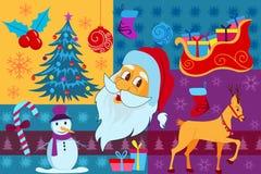 Άγιος Βασίλης με το έλκηθρο και χιονάνθρωπος στη Χαρούμενα Χριστούγεννα Στοκ εικόνες με δικαίωμα ελεύθερης χρήσης