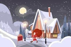 Άγιος Βασίλης με το μεγάλο σάκο δώρων που έρχεται να στεγάσει το έμβλημα Χαρούμενα Χριστούγεννας καλής χρονιάς απεικόνιση αποθεμάτων