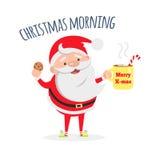 Άγιος Βασίλης με το φλιτζάνι του καφέ και το νόστιμο μπισκότο διανυσματική απεικόνιση