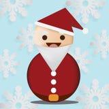 Άγιος Βασίλης με Snowflake το μπλε υπόβαθρο χρώματος Στοκ εικόνα με δικαίωμα ελεύθερης χρήσης