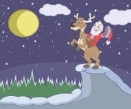 Άγιος Βασίλης οδηγά τα ελάφια διανυσματική απεικόνιση