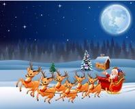 Άγιος Βασίλης οδηγά το έλκηθρο ταράνδων στη νύχτα Χριστουγέννων απεικόνιση αποθεμάτων