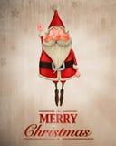 Άγιος Βασίλης πετά τη ευχετήρια κάρτα Στοκ Εικόνα