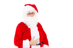 Άγιος Βασίλης που τρώεται πάρα πολλά μπισκότα στοκ εικόνα με δικαίωμα ελεύθερης χρήσης