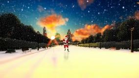 Άγιος Βασίλης που χορεύει σε μια αλέα πάρκων, υπόβαθρο διακοπών διανυσματική απεικόνιση