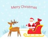 Άγιος Βασίλης σε ένα έλκηθρο με τον τάρανδο διανυσματική απεικόνιση