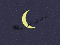 Άγιος Βασίλης σε ένα έλκηθρο σε ένα υπόβαθρο του φεγγαριού και των αστεριών s santa sleigh διάνυσμα διανυσματική απεικόνιση