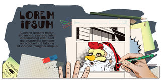 Άγιος Βασίλης σε μια μάσκα κοκκόρων Σύμβολο του έτους ωροσκόπιο Στοκ εικόνα με δικαίωμα ελεύθερης χρήσης