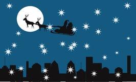 Άγιος Βασίλης στη νύχτα Χριστουγέννων Στοκ Εικόνες