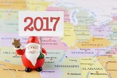 Άγιος Βασίλης 2017 στον ΑΜΕΡΙΚΑΝΙΚΟ χάρτη Στοκ φωτογραφίες με δικαίωμα ελεύθερης χρήσης