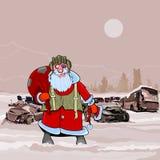 Άγιος Βασίλης στο απόρριψη πυρηνικό χειμερινό postapokalipsisa αυτοκινήτων Στοκ εικόνα με δικαίωμα ελεύθερης χρήσης