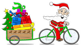 Άγιος Βασίλης στο ποδήλατο που παραδίδει τα δώρα Χριστουγέννων Στοκ εικόνα με δικαίωμα ελεύθερης χρήσης