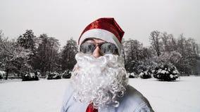 Άγιος Βασίλης το χιονώδη χειμώνα τοπίων Στοκ Εικόνα