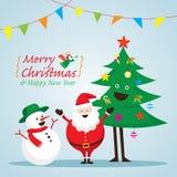 Άγιος Βασίλης, χιονάνθρωπος, και χαρακτήρες δέντρων Διανυσματική απεικόνιση