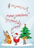 Άγιος Βασίλης, χιονάνθρωπος, τάρανδος, παίζοντας μουσική, τραγουδά ένα τραγούδι απεικόνιση αποθεμάτων