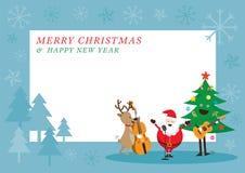 Άγιος Βασίλης, χιονάνθρωπος, τάρανδος, παίζοντας πλαίσιο μουσικής απεικόνιση αποθεμάτων