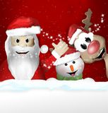 Άγιος Βασίλης Sowman και συναίσθημα Χριστουγέννων ταράνδων Στοκ Φωτογραφία