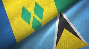 Άγιος Βικέντιος και Γρεναδίνες και Αγία Λουκία δύο σημαίες ελεύθερη απεικόνιση δικαιώματος