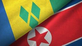 Άγιος Βικέντιος και Γρεναδίνες και Βόρεια Κορέα δύο σημαίες ελεύθερη απεικόνιση δικαιώματος