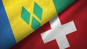 Άγιος Βικέντιος και Γρεναδίνες και Ελβετία δύο σημαίες διανυσματική απεικόνιση