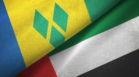 Άγιος Βικέντιος και Γρεναδίνες και Ηνωμένα Αραβικά Εμιράτα δύο σημαίες ελεύθερη απεικόνιση δικαιώματος