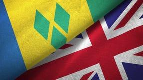 Άγιος Βικέντιος και Γρεναδίνες και Ηνωμένο Βασίλειο δύο σημαίες απεικόνιση αποθεμάτων
