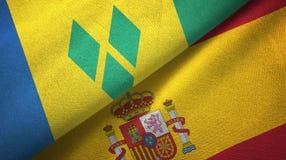 Άγιος Βικέντιος και Γρεναδίνες και Ισπανία δύο σημαίες απεικόνιση αποθεμάτων