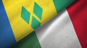 Άγιος Βικέντιος και Γρεναδίνες και Ιταλία δύο σημαίες διανυσματική απεικόνιση