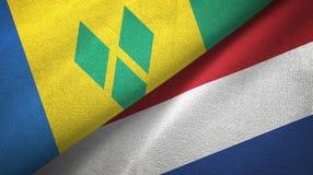 Άγιος Βικέντιος και Γρεναδίνες και Κάτω Χώρες δύο σημαίες απεικόνιση αποθεμάτων