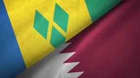 Άγιος Βικέντιος και Γρεναδίνες και Κατάρ δύο σημαίες απεικόνιση αποθεμάτων