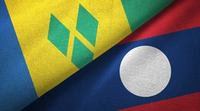 Άγιος Βικέντιος και Γρεναδίνες και Λάος δύο υφαντικό ύφασμα σημαιών ελεύθερη απεικόνιση δικαιώματος
