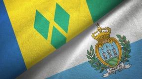 Άγιος Βικέντιος και Γρεναδίνες και Άγιος Μαρίνος δύο σημαίες διανυσματική απεικόνιση