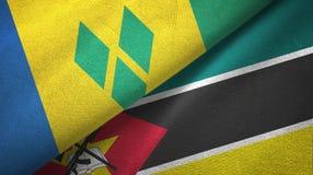 Άγιος Βικέντιος και Γρεναδίνες και Μοζαμβίκη δύο σημαίες απεικόνιση αποθεμάτων