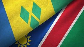 Άγιος Βικέντιος και Γρεναδίνες και Ναμίμπια δύο σημαίες διανυσματική απεικόνιση