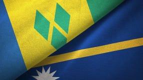 Άγιος Βικέντιος και Γρεναδίνες και Ναούρου δύο σημαίες διανυσματική απεικόνιση