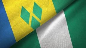 Άγιος Βικέντιος και Γρεναδίνες και Νιγηρία δύο σημαίες απεικόνιση αποθεμάτων