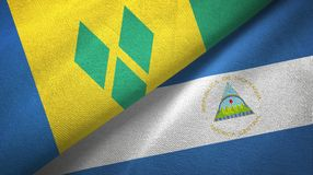 Άγιος Βικέντιος και Γρεναδίνες και Νικαράγουα δύο σημαίες απεικόνιση αποθεμάτων