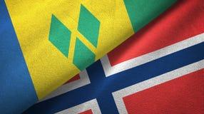 Άγιος Βικέντιος και Γρεναδίνες και Νορβηγία δύο σημαίες διανυσματική απεικόνιση