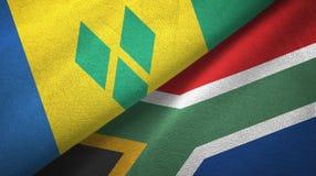 Άγιος Βικέντιος και Γρεναδίνες και Νότια Αφρική δύο σημαίες απεικόνιση αποθεμάτων