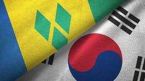 Άγιος Βικέντιος και Γρεναδίνες και Νότια Κορέα δύο σημαίες απεικόνιση αποθεμάτων