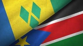 Άγιος Βικέντιος και Γρεναδίνες και Νότιο Σουδάν δύο σημαίες απεικόνιση αποθεμάτων