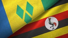 Άγιος Βικέντιος και Γρεναδίνες και Ουγκάντα δύο σημαίες ελεύθερη απεικόνιση δικαιώματος