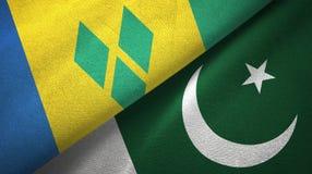 Άγιος Βικέντιος και Γρεναδίνες και Πακιστάν δύο σημαίες διανυσματική απεικόνιση