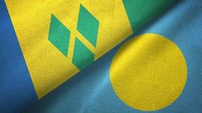 Άγιος Βικέντιος και Γρεναδίνες και Παλάου δύο σημαίες διανυσματική απεικόνιση
