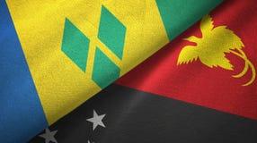 Άγιος Βικέντιος και Γρεναδίνες και Παπούα Νέα Γουϊνέα δύο σημαίες διανυσματική απεικόνιση