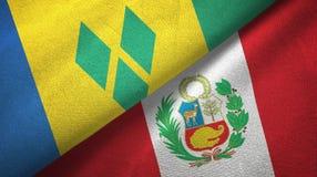 Άγιος Βικέντιος και Γρεναδίνες και Περού δύο σημαίες απεικόνιση αποθεμάτων